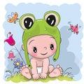 Cute Cartoon Baby in a froggy hat