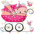 Cute Cartoon Baby girl is sitting on a carriage