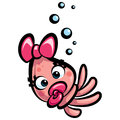 Cute cartoon baby girl squid happy with pacifier Royalty Free Stock Images