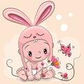 Cute Cartoon Baby in a rabbit hat