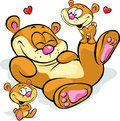 Cute cartoon bear with cubs