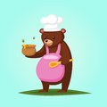 Cute cartoon Bear with Honey Vector illustration