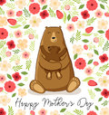 Cute cartoon bear with its baby, Mother`s day card