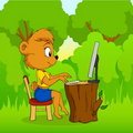 Cute cartoon bear typing on computer in forest Stock Image