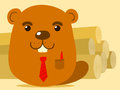 Cute cartoon beaver salesman Royalty Free Stock Image