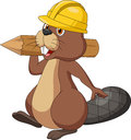 Cute cartoon beaver wearing safety hat and holding a wood log illustration of Stock Photo