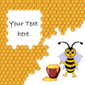 A cute cartoon bee with a honey pot surrounded by honeycombs background for your text vector art illustration Royalty Free Stock Photography