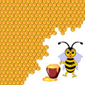 A cute cartoon bee with a honey pot surrounded by honeycombs vector art illustration Stock Photos
