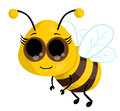 Cute cartoon bee vector illustration background Stock Photos