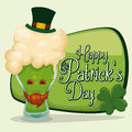 Cute cartoon beer in front of st patrick s day sign vector illustration funny with a leprechaun face and hat and a lucky four leaf Stock Photos
