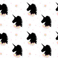 Cute cartoon black unicorn silhouette with rainbow stars seamless pattern illustration Royalty Free Stock Photo
