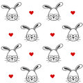 Cute cartoon black and white bunnies with eyeglasses seamless pattern background illustration