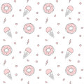 Cute cartoon black white pink seamless pattern with donuts, ice cream, lips, stars, hearts and lightning