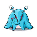 Cute cartoon blue monster elephant isolated on white background