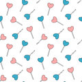 Cute cartoon blue and pink heart lollipop seamless pattern background illustration Royalty Free Stock Photo