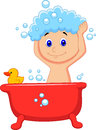 Cute cartoon boy having bath illustration of Royalty Free Stock Image