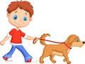 Cute cartoon boy walking with dog