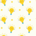 Cute cartoon bright yellow light bulbs seamless pattern concept background illustration Royalty Free Stock Photo