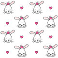 Cute cartoon bunnies with crown seamless vector pattern background illustration