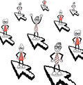 Cute cartoon business people on cursor arrows Royalty Free Stock Photo