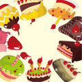 Cute cartoon cake card Stock Images