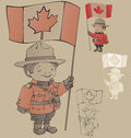 Cute cartoon canadian mounties with a flag of canada in hand standing also countour and silhouette Stock Photos