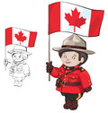 Cute cartoon canadian mounties with a flag of canada in hand standing isolating on white also countour Royalty Free Stock Photos