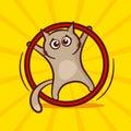 Cute cartoon cat exercising with hula hoop. Vector illustration