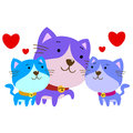 Cute cartoon cat family vector Royalty Free Stock Image