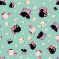 Cute cartoon cat and laptop vector seamless pattern background. Black feline, note book and coffee cups mint green