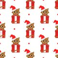 Cute cartoon cats with christmas gifts. Vector seamless pattern on white background. Royalty Free Stock Photo