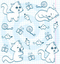 Cute cartoon cats (coloring book) Stock Image