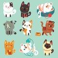 Cute cartoon cats, funny playful kittens vector set