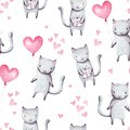 Cute cartoon cats with pink balloon heart shape and gift. Hand drawn abstract watercolor seamless pattern. Valentine`s day backgro