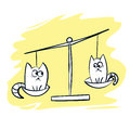 Cute cartoon cats on scales vector illustration Royalty Free Stock Photo