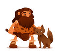 Cute cartoon caveman with his wolf friend illustration of an ancient domesticated Stock Photography