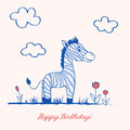Cute cartoon cheerful zebra on grass along tulip flowers on light background, Vector graphic color illustration