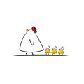 Cute cartoon Chicken family