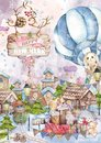 Cute cartoon christmas rat mouse and owl, santa, bunny christmas card. Watercolor hand drawn animal illustration. New Year 2020 Royalty Free Stock Photo