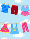 Cute cartoon clothesline Stock Photography