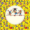 Cute cartoon clown card Stock Images