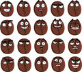 Cute cartoon coffee bean smile with many expressio Royalty Free Stock Images