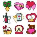 Cute cartoon color vector valentines day set