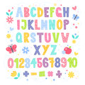 Cute cartoon colorful alphabet for children