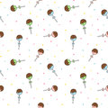 Cute cartoon colorful cake pops seamless pattern background illustration