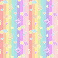 Cute cartoon colorful mix seamless pattern background illustration with star comet, music notes and diamond on rainbow stri