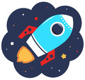 Cute cartoon colorful rocket in space beautiful vector illustration Royalty Free Stock Photography