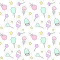 Cute cartoon colorful seamless pattern with candies, ice cream, lollipop and cotton candy