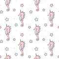 Cute cartoon colorful unicorn seahorse seamless pattern background illustration