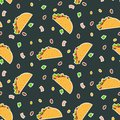 Cute cartoon contrast vector tacos pattern on dark background
